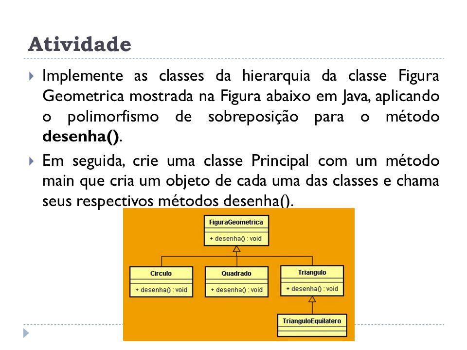 Atividade  Implemente as classes da hierarquia da classe Figura Geometrica mostrada na Figura abaixo em Java, aplicando o polimorfismo de sobreposiçã