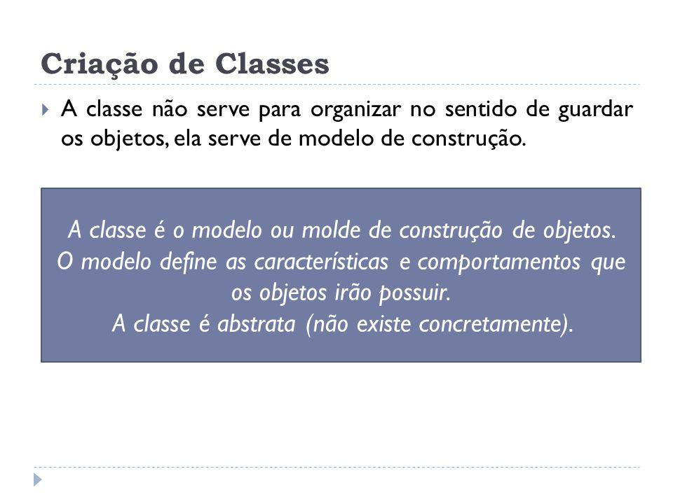 A classe é o modelo ou molde de construção de objetos. O modelo define as características e comportamentos que os objetos irão possuir. A classe é abs