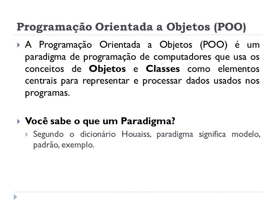 Programação Orientada a Objetos (POO)  A Programação Orientada a Objetos (POO) é um paradigma de programação de computadores que usa os conceitos de