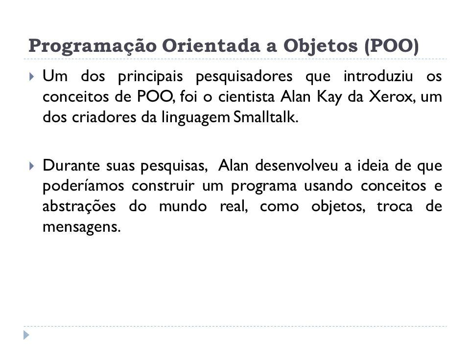 Programação Orientada a Objetos (POO)  Um dos principais pesquisadores que introduziu os conceitos de POO, foi o cientista Alan Kay da Xerox, um dos
