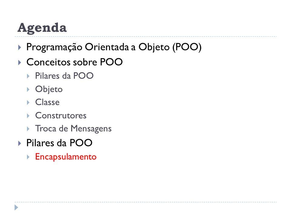 Agenda  Programação Orientada a Objeto (POO)  Conceitos sobre POO  Pilares da POO  Objeto  Classe  Construtores  Troca de Mensagens  Pilares d