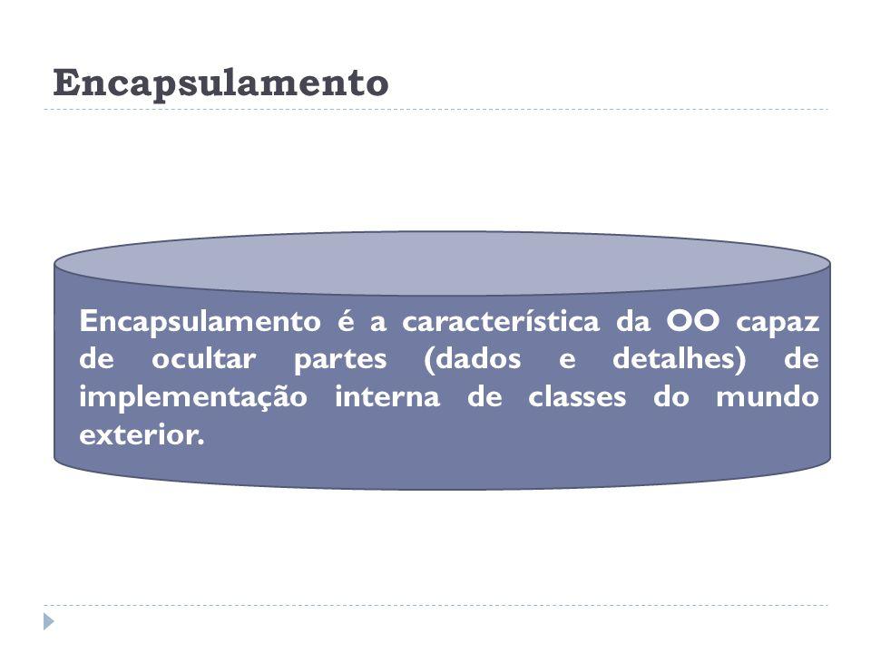Encapsulamento  Encapsulamento é a característica da OO capaz de ocultar partes (dados e detalhes) de implementação interna de classes do mundo exter