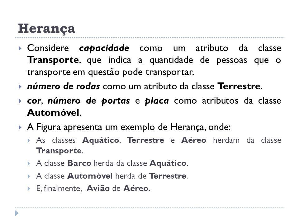 Herança  Considere capacidade como um atributo da classe Transporte, que indica a quantidade de pessoas que o transporte em questão pode transportar.