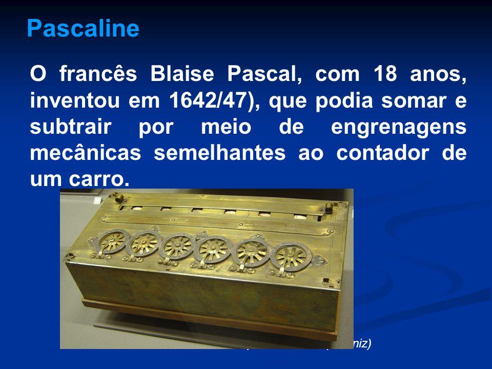 Pascaline O francês Blaise Pascal, com 18 anos, inventou em 1642/47), que podia somar e subtrair por meio de engrenagens mecânicas semelhantes ao cont