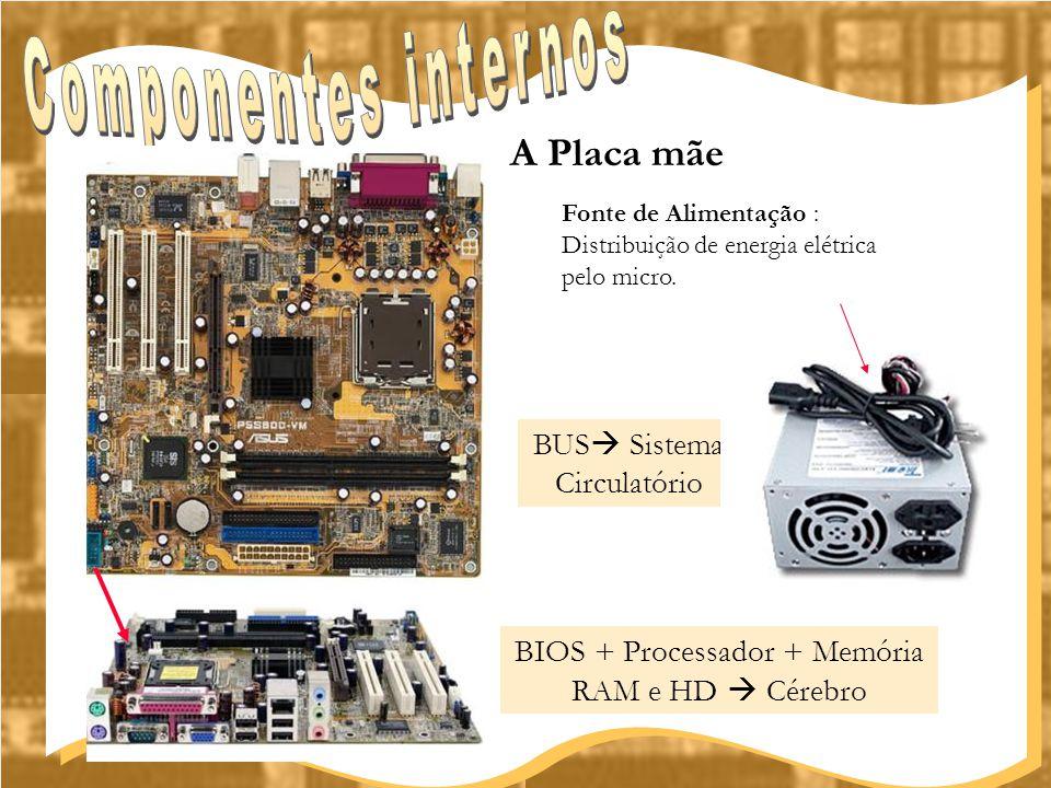 BIOS + Processador + Memória RAM e HD  Cérebro A Placa mãe Fonte de Alimentação : Distribuição de energia elétrica pelo micro. BUS  Sistema Circulat
