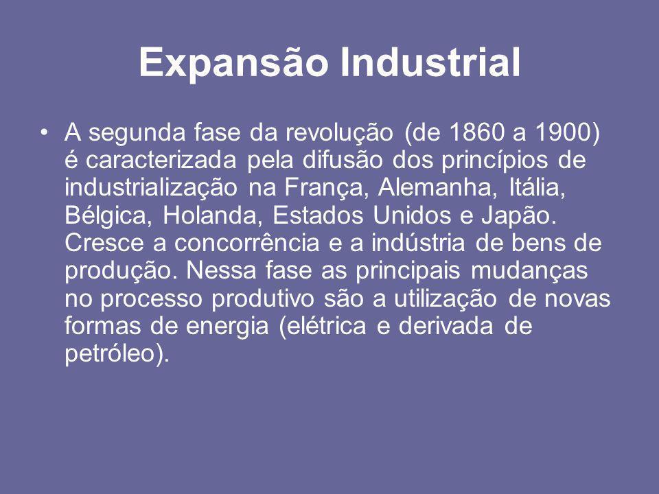 Expansão Industrial •A segunda fase da revolução (de 1860 a 1900) é caracterizada pela difusão dos princípios de industrialização na França, Alemanha,