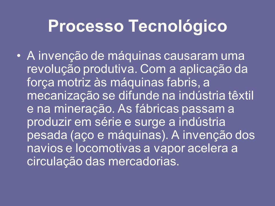 Processo Tecnológico •A invenção de máquinas causaram uma revolução produtiva. Com a aplicação da força motriz às máquinas fabris, a mecanização se di