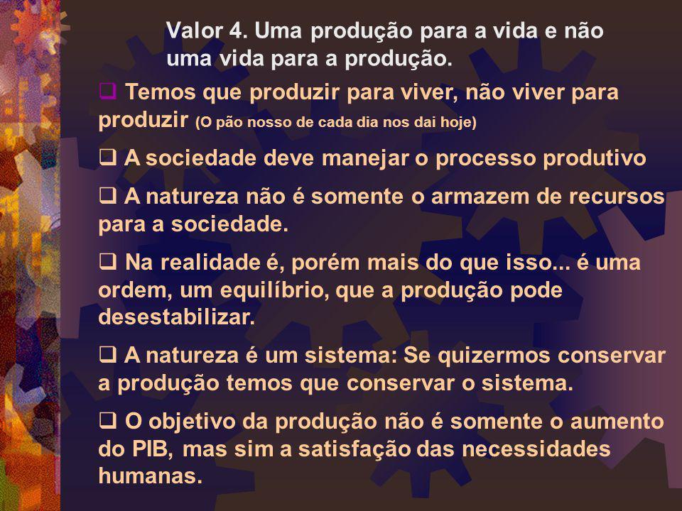 Valor 4. Uma produção para a vida e não uma vida para a produção.  Temos que produzir para viver, não viver para produzir (O pão nosso de cada dia no
