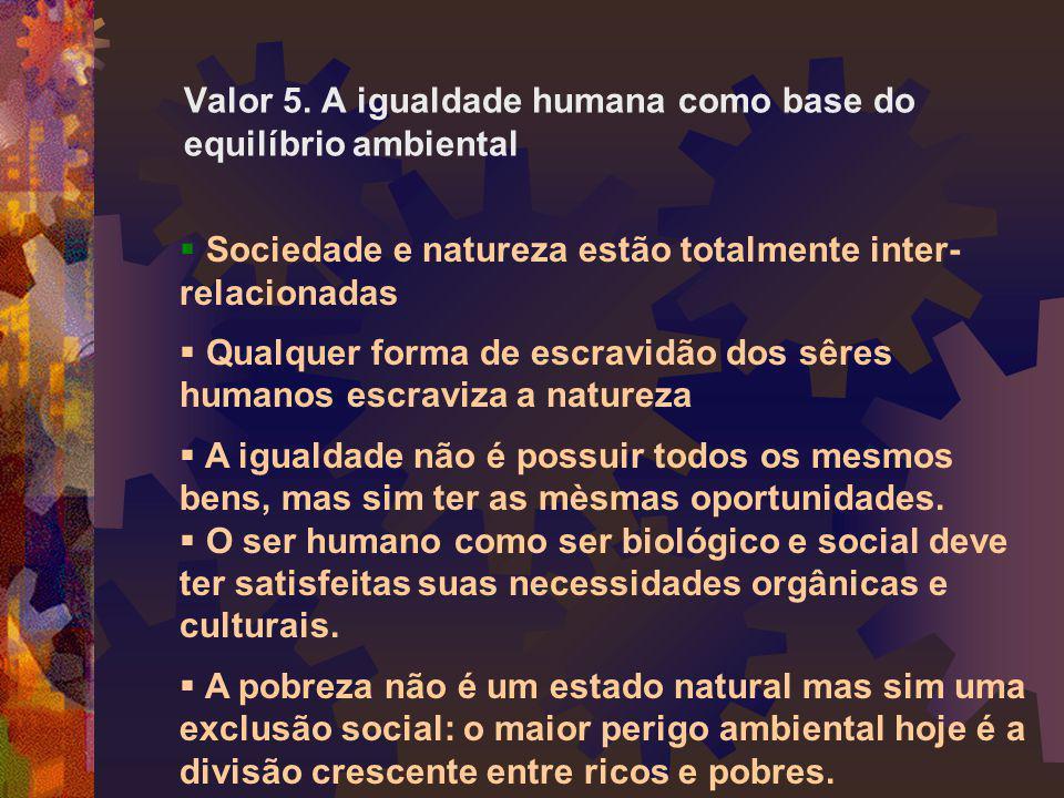 Valor 5. A igualdade humana como base do equilíbrio ambiental  Sociedade e natureza estão totalmente inter- relacionadas  Qualquer forma de escravid