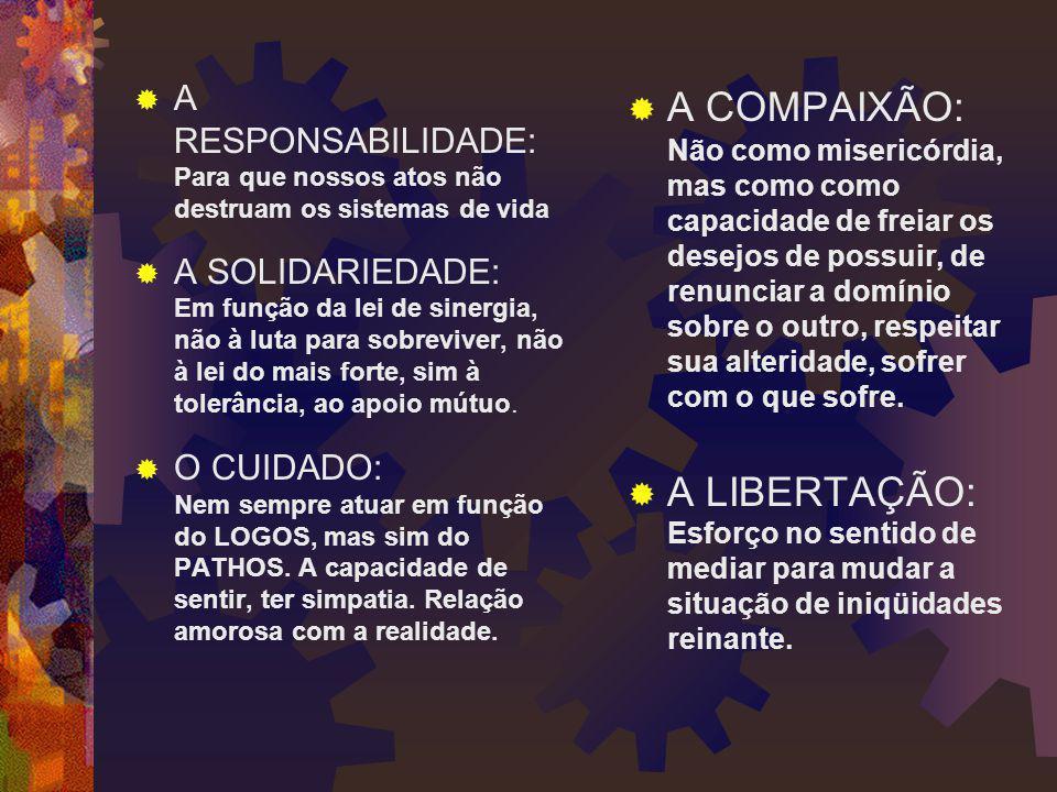  A RESPONSABILIDADE: Para que nossos atos não destruam os sistemas de vida  A SOLIDARIEDADE: Em função da lei de sinergia, não à luta para sobrevive