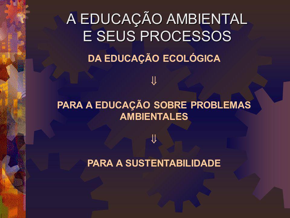 A EDUCAÇÃO AMBIENTAL E SEUS PROCESSOS DA EDUCAÇÃO ECOLÓGICA  PARA A EDUCAÇÃO SOBRE PROBLEMAS AMBIENTALES  PARA A SUSTENTABILIDADE