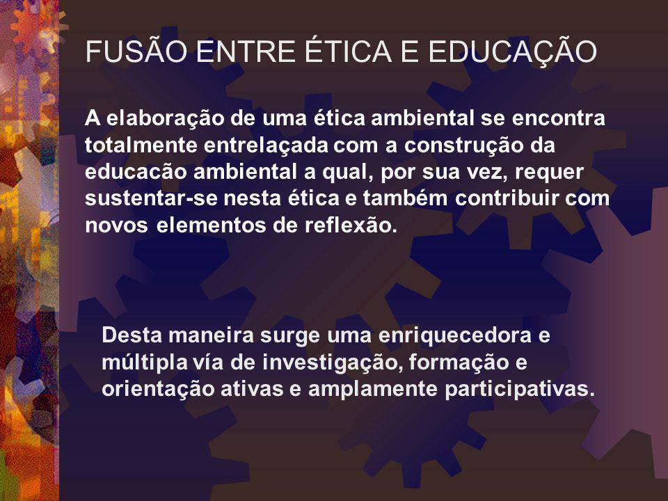 A elaboração de uma ética ambiental se encontra totalmente entrelaçada com a construção da educacão ambiental a qual, por sua vez, requer sustentar-se