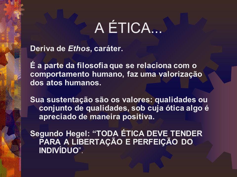 A ÉTICA... Deriva de Ethos, caráter. É a parte da filosofia que se relaciona com o comportamento humano, faz uma valorização dos atos humanos. Sua sus