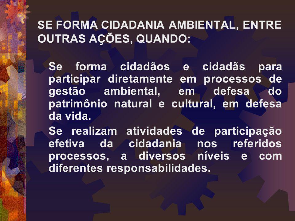 SE FORMA CIDADANIA AMBIENTAL, ENTRE OUTRAS AÇÕES, QUANDO: Se forma cidadãos e cidadãs para participar diretamente em processos de gestão ambiental, em
