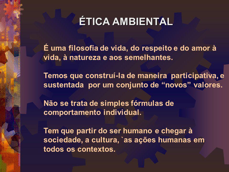 ÉTICA AMBIENTAL É uma filosofia de vida, do respeito e do amor à vida, à natureza e aos semelhantes. Temos que construí-la de maneira participativa, e