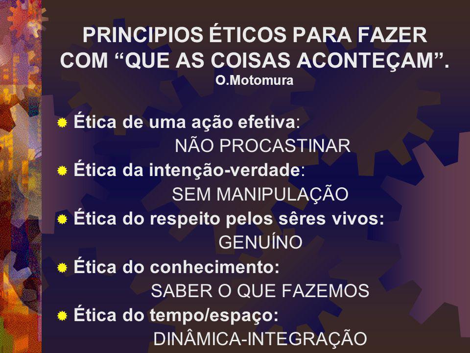 PRINCIPIOS ÉTICOS PARA FAZER COM QUE AS COISAS ACONTEÇAM .