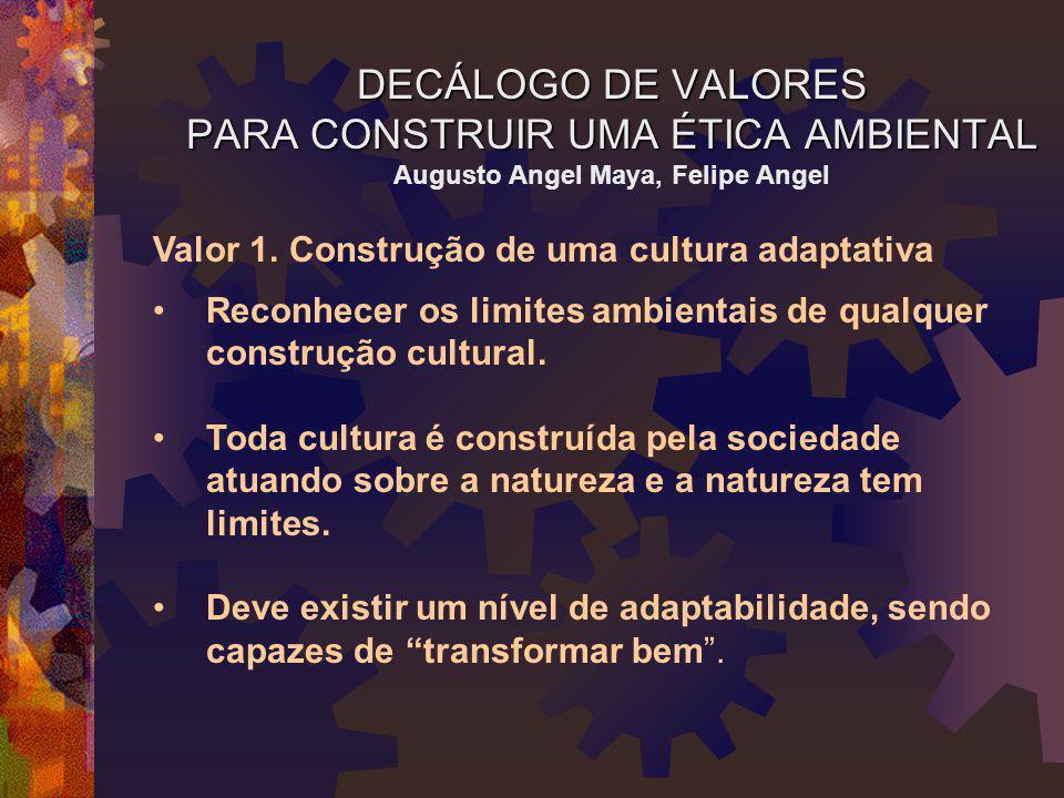 DECÁLOGO DE VALORES PARA CONSTRUIR UMA ÉTICA AMBIENTAL DECÁLOGO DE VALORES PARA CONSTRUIR UMA ÉTICA AMBIENTAL Augusto Angel Maya, Felipe Angel Valor 1