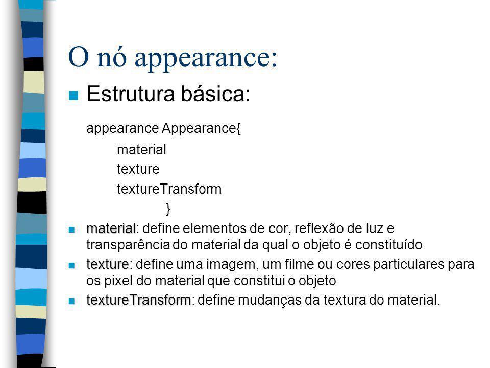 Primitivas Geométricas: n As formas geométricas básicas: –Box –Cone –Cylinder –Sphere –Text - formatar textos –ElevationGrid –Extrusion –IndexedFaceSe