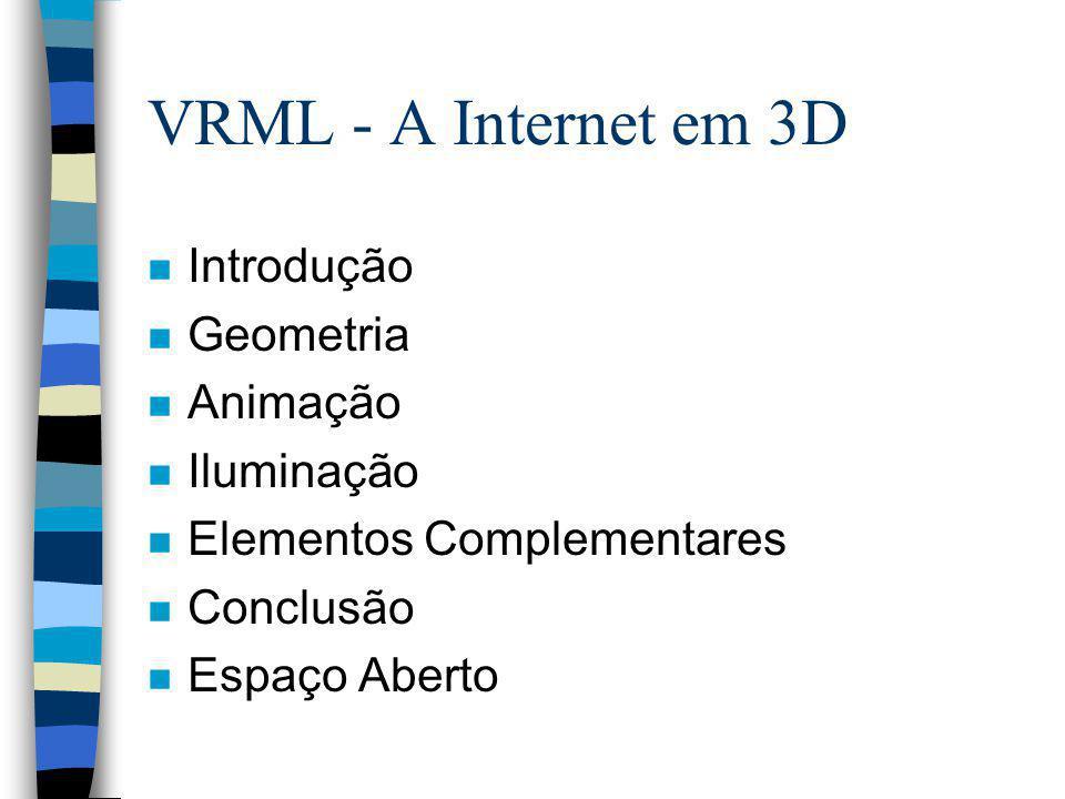 VRML - A INTERNET EM 3D VRML: Virtual Reality Modeling Language Alexandre Cardoso