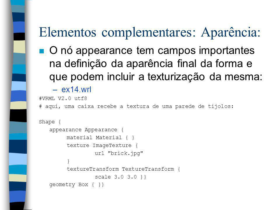 –Podemos elaborar o modelo de uma montanha, usando o nó ElevationGrid - ainda não se comenta aqui a texturização da cena: –ex11.wrl –A construção de s