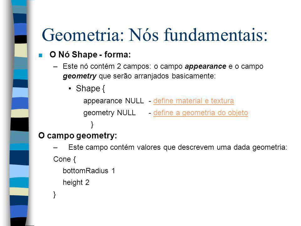O arranjo básico: # VRML V2.0 utf8 Group{ children [ nó e campos.... ] }