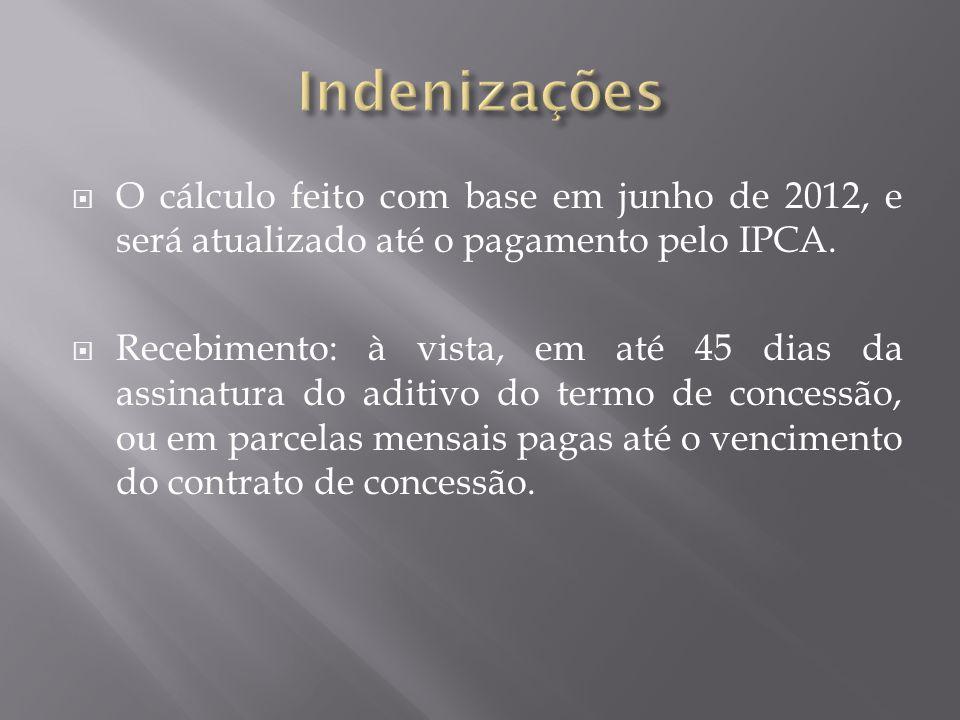  O cálculo feito com base em junho de 2012, e será atualizado até o pagamento pelo IPCA.