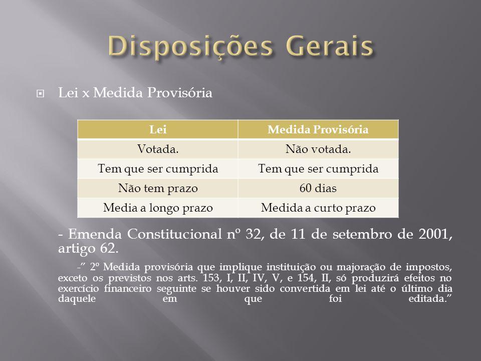  Lei x Medida Provisória - Emenda Constitucional nº 32, de 11 de setembro de 2001, artigo 62.
