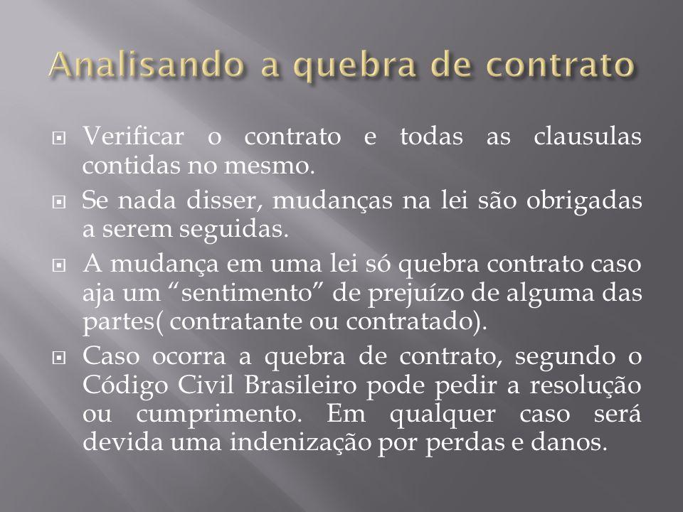  Verificar o contrato e todas as clausulas contidas no mesmo.
