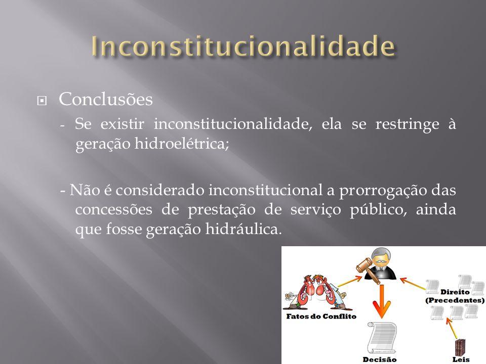  Conclusões - Se existir inconstitucionalidade, ela se restringe à geração hidroelétrica; - Não é considerado inconstitucional a prorrogação das concessões de prestação de serviço público, ainda que fosse geração hidráulica.