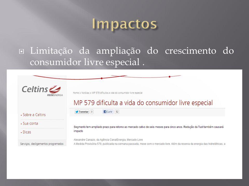  Limitação da ampliação do crescimento do consumidor livre especial.
