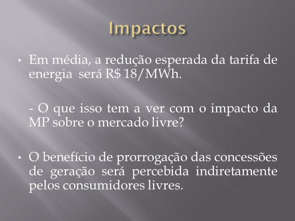• Em média, a redução esperada da tarifa de energia será R$ 18/MWh.