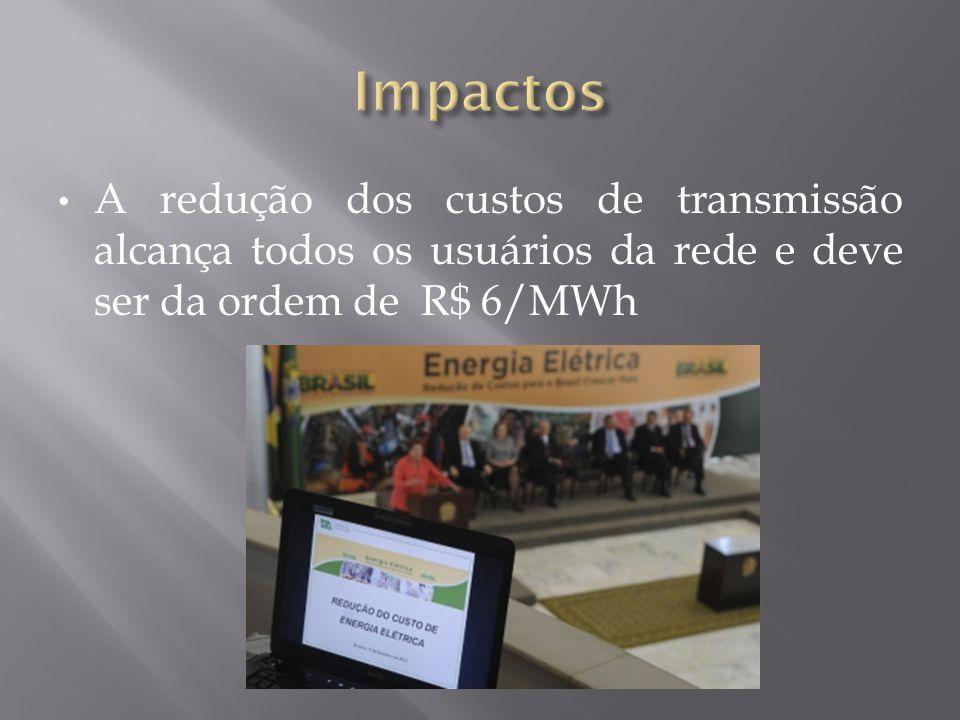 • A redução dos custos de transmissão alcança todos os usuários da rede e deve ser da ordem de R$ 6/MWh