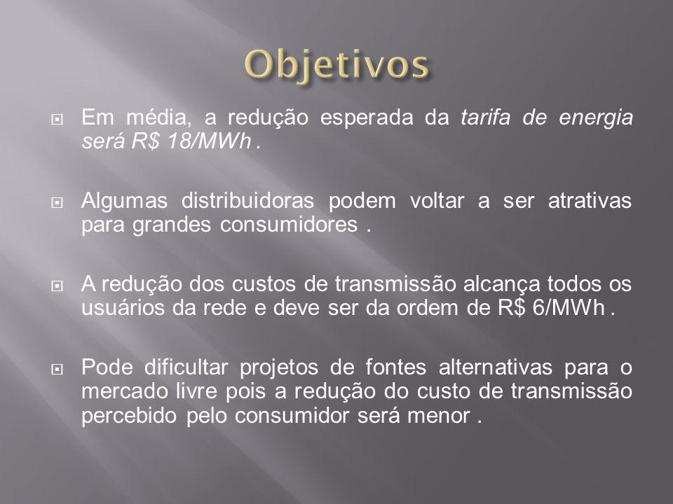  Em média, a redução esperada da tarifa de energia será R$ 18/MWh.