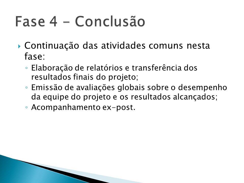  Continuação das atividades comuns nesta fase: ◦ Elaboração de relatórios e transferência dos resultados finais do projeto; ◦ Emissão de avaliações g