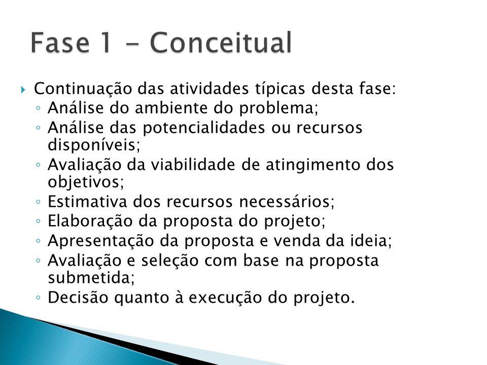  Continuação das atividades típicas desta fase: ◦ Análise do ambiente do problema; ◦ Análise das potencialidades ou recursos disponíveis; ◦ Avaliação