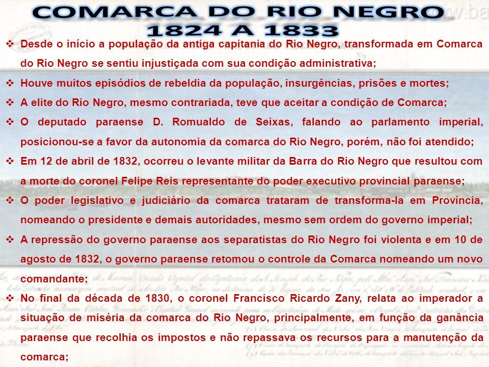  O ato de 25 de junho de 1833 dividiu a Província do Pará em três Comarcas: Grão Pará, Baixo Amazonas e Alto Amazonas;  A comarca do Alto Amazonas corresponde ao atual Estado do Amazonas e ficava dividida em quatro regiões chamadas TERMOS a saber; Manaós, Luzéa (Maués), Mariuá (Barcelos) e Ega (Tefé);  O Lugar da Barra foi promovida a Vila de Manaós e tornou-se capital da Comarca do Alto Amazonas e, ainda subordinado ao Pará;  Em 1848, Vila de Manós é elevada a categoria de cidade com o nome de Cidade da Barra do Rio Negro  A Comarca do Alto Amazonas torna-se Província do Amazonas em 5 de setembro de 1850.