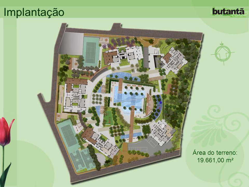 Implantação Área do terreno: 19.661,00 m²