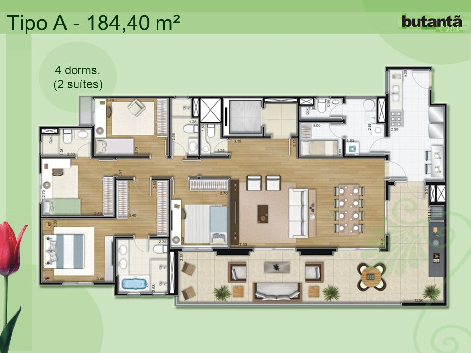Tipo A - 184,40 m² 4 dorms. (2 suítes)