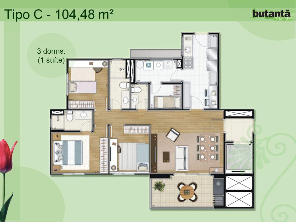 Tipo C - 104,48 m² 3 dorms. (1 suíte)