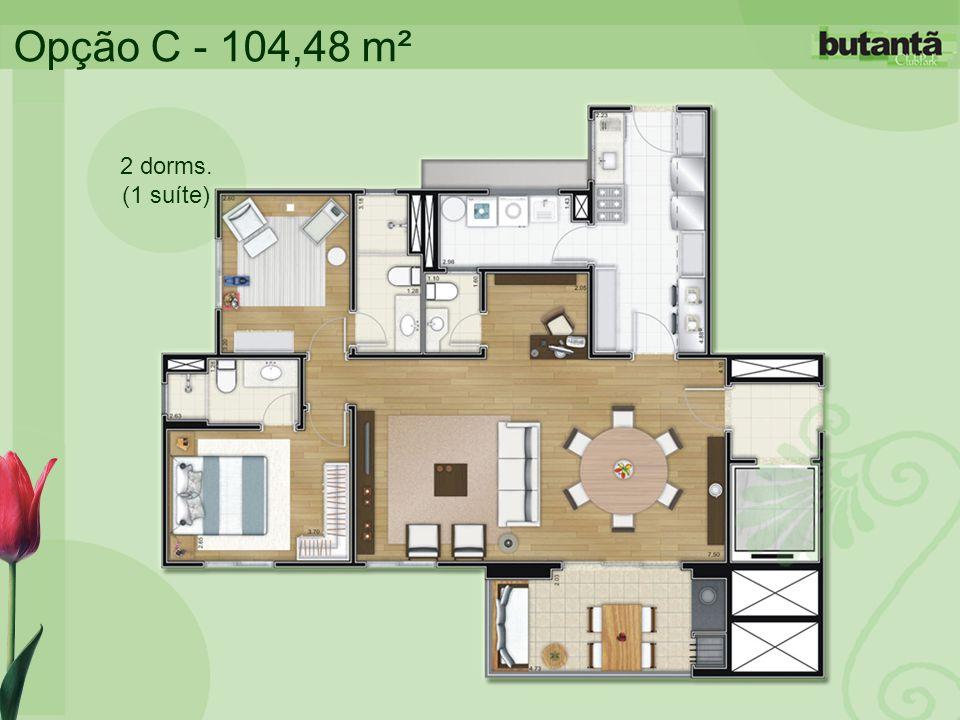 Opção C - 104,48 m² 2 dorms. (1 suíte)