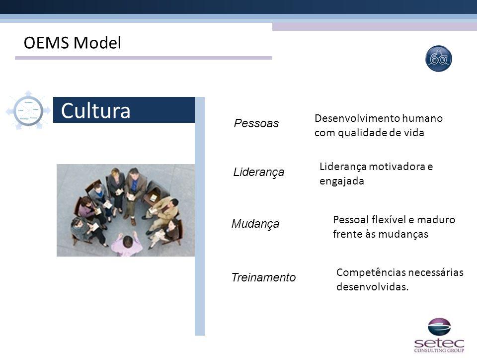 OEMS Model Pessoas Liderança Mudança Treinamento Pessoal flexível e maduro frente às mudanças Liderança motivadora e engajada Competências necessárias