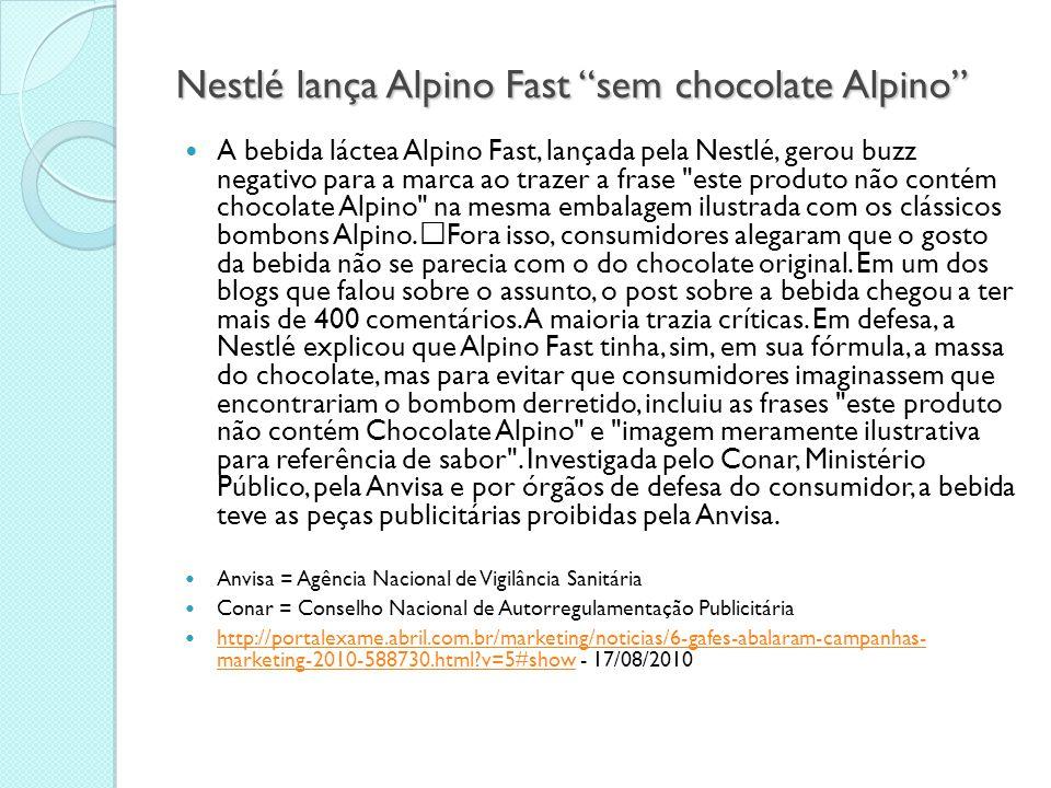"""Nestlé lança Alpino Fast """"sem chocolate Alpino""""  A bebida láctea Alpino Fast, lançada pela Nestlé, gerou buzz negativo para a marca ao trazer a frase"""