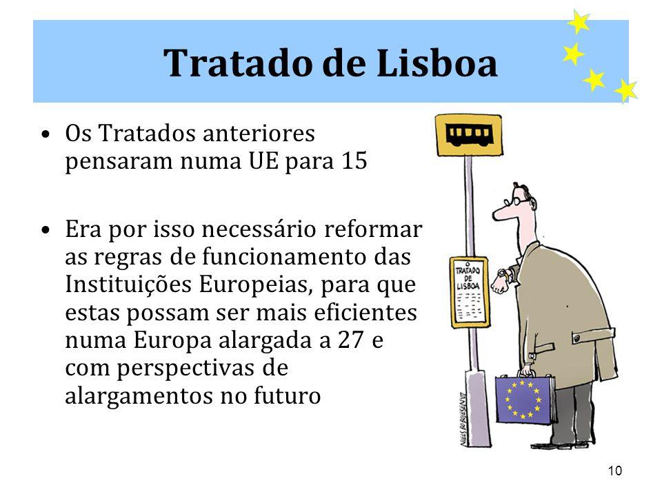 10 Tratado de Lisboa •Os Tratados anteriores pensaram numa UE para 15 •Era por isso necessário reformar as regras de funcionamento das Instituições Europeias, para que estas possam ser mais eficientes numa Europa alargada a 27 e com perspectivas de alargamentos no futuro