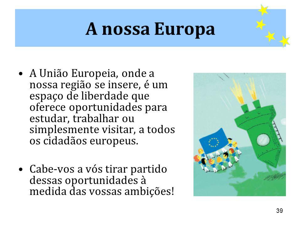 39 •A União Europeia, onde a nossa região se insere, é um espaço de liberdade que oferece oportunidades para estudar, trabalhar ou simplesmente visitar, a todos os cidadãos europeus.