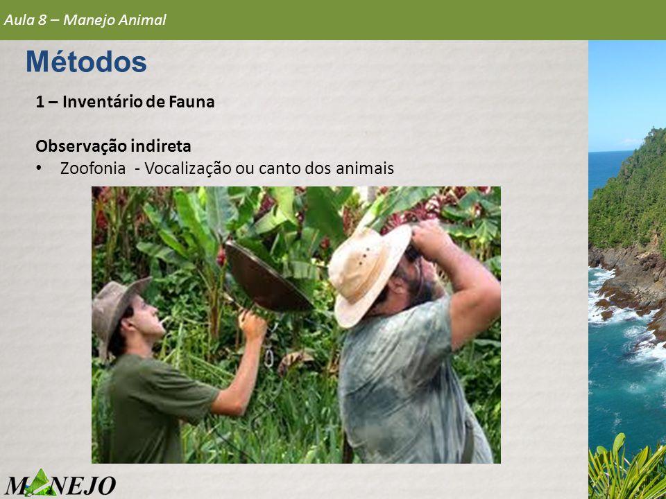 1 – Inventário de Fauna Observação indireta • Zoofonia - Vocalização ou canto dos animais Aula 8 – Manejo Animal Métodos