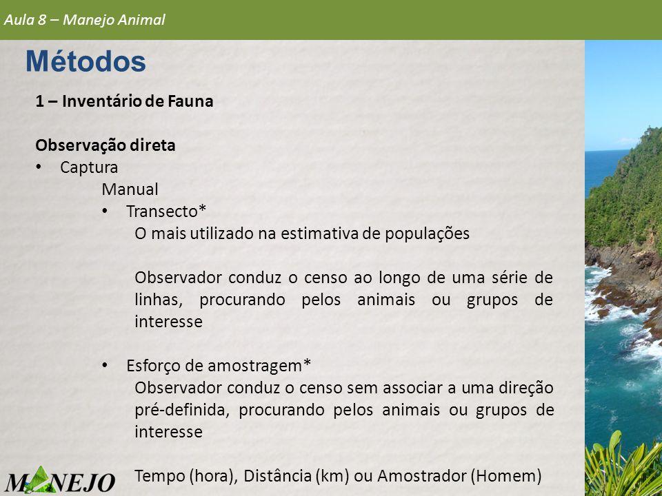 1 – Inventário de Fauna Observação direta • Captura Manual • Transecto* O mais utilizado na estimativa de populações Observador conduz o censo ao long