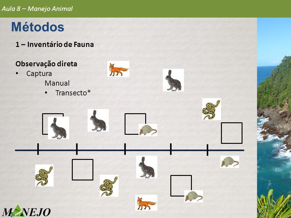 1 – Inventário de Fauna Observação direta • Captura Manual • Transecto* Aula 8 – Manejo Animal Métodos