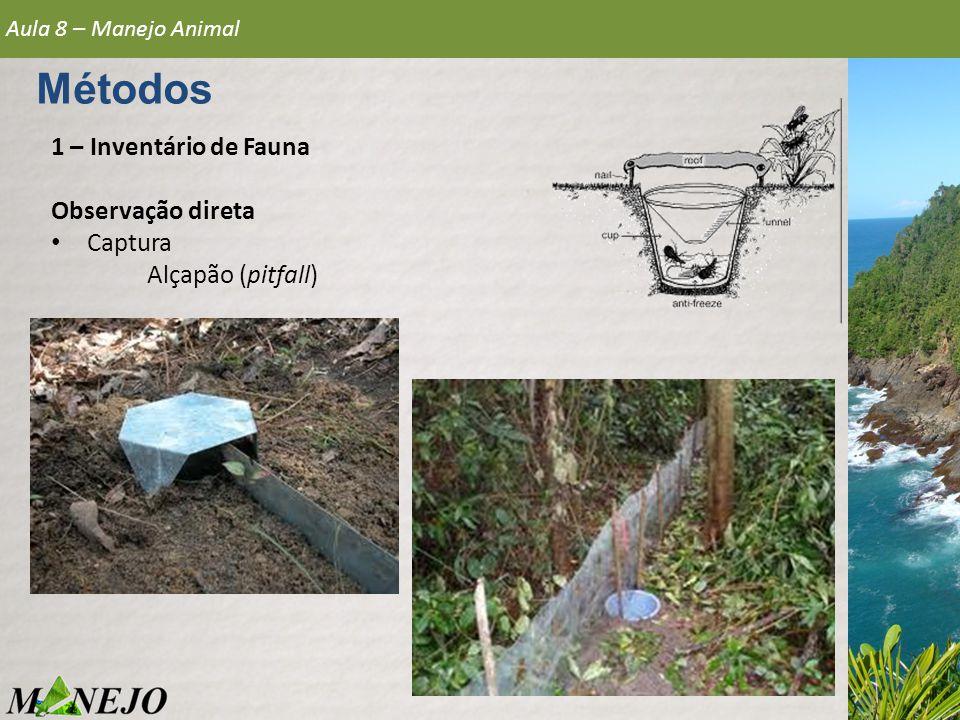 1 – Inventário de Fauna Observação direta • Captura Alçapão (pitfall) Aula 8 – Manejo Animal Métodos