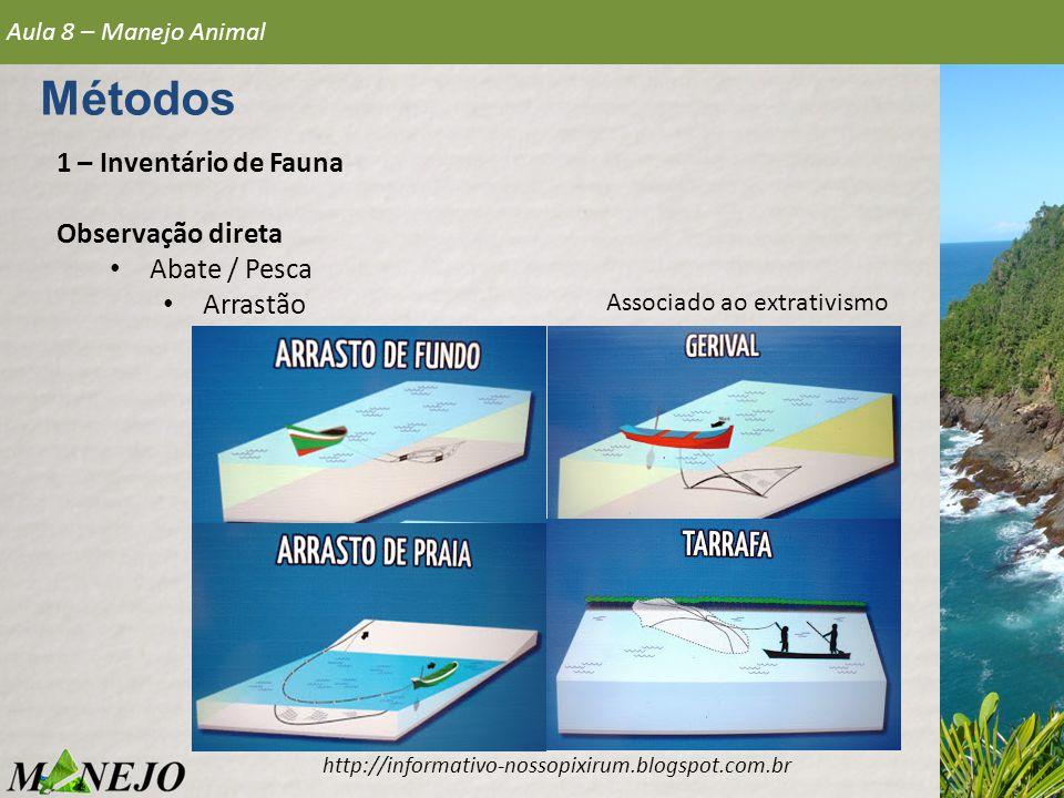 1 – Inventário de Fauna Observação direta • Abate / Pesca • Arrastão Aula 8 – Manejo Animal Métodos http://informativo-nossopixirum.blogspot.com.br As