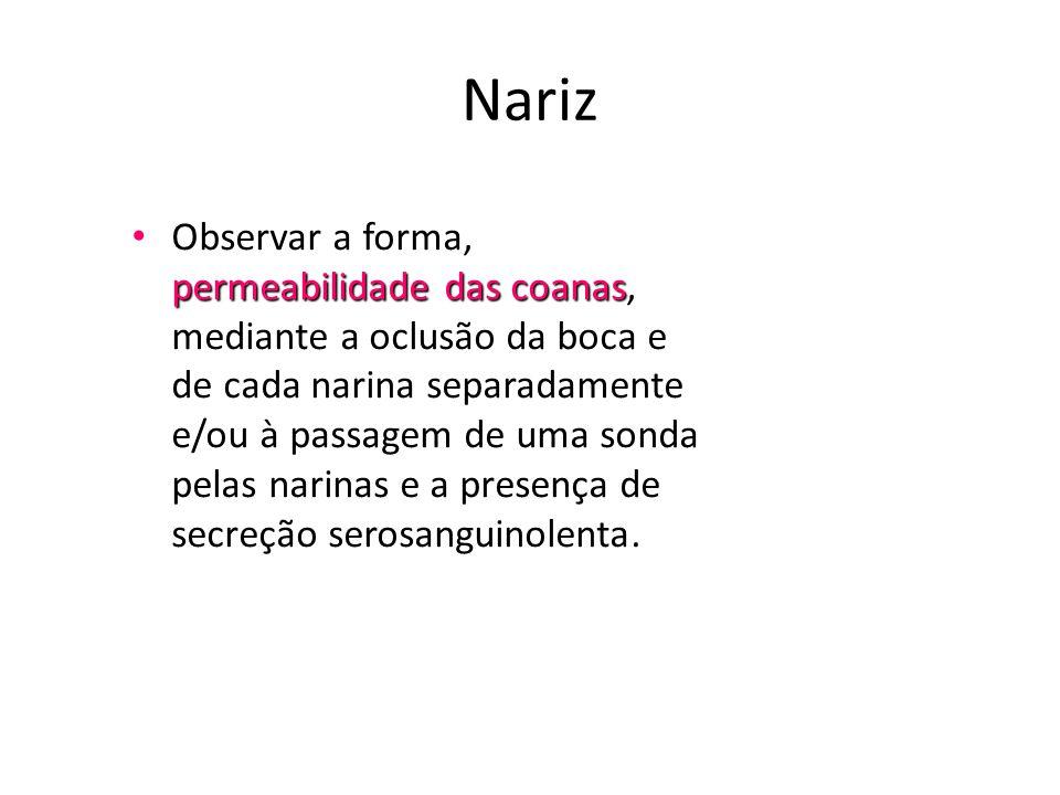 Nariz permeabilidade das coanas • Observar a forma, permeabilidade das coanas, mediante a oclusão da boca e de cada narina separadamente e/ou à passag